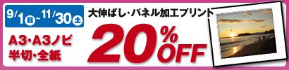 [期間限定]2013/11/30まで・大伸ばしプリント、パネル加工プリント A3・A3ノビ・半切・全紙が20%OFF